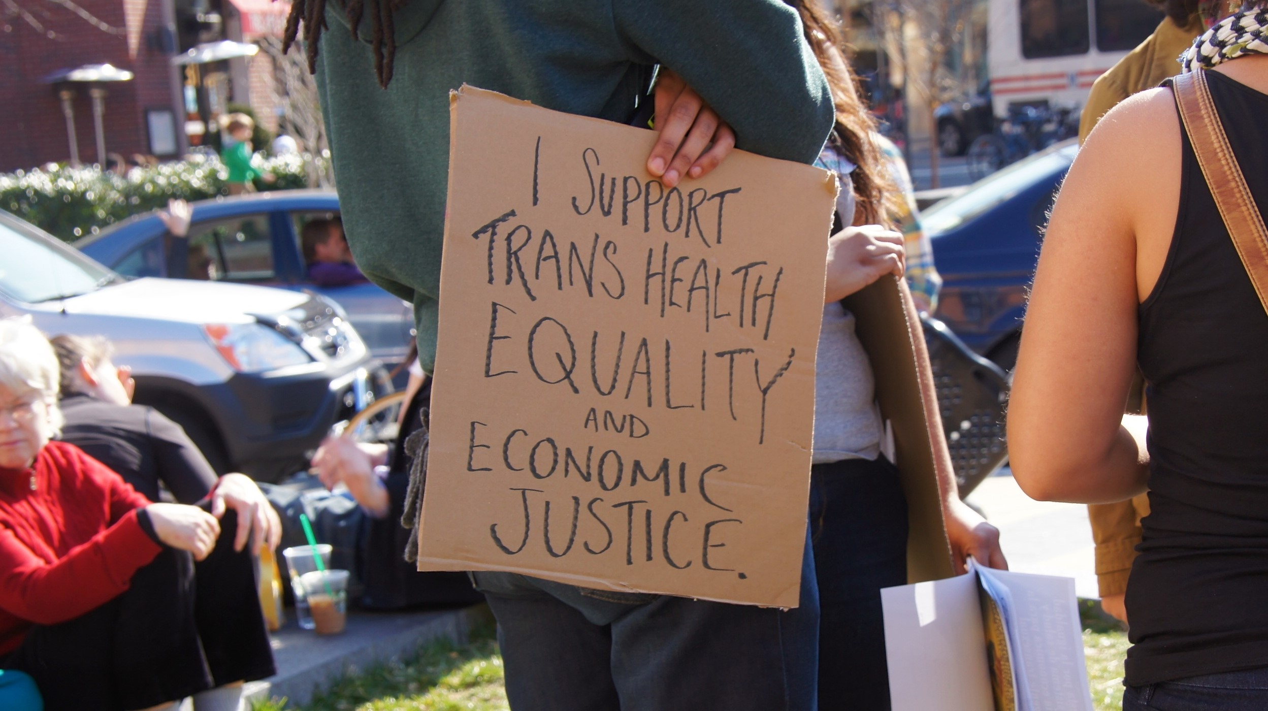 See: https://www.facebook.com/events/501459483222848/ A rally in Washington, DC in support of the equal health and livelihood of trans people, that included basic information about trans health issues and stories of denied / inappropriate care, as well as hope for the future
