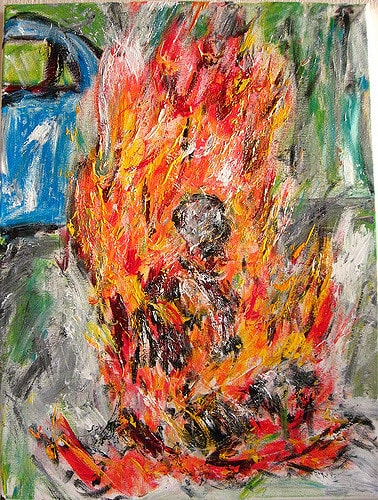 A painting that depicts self immolation.