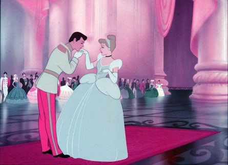 Cinderella with her prince, a scene from the ball
