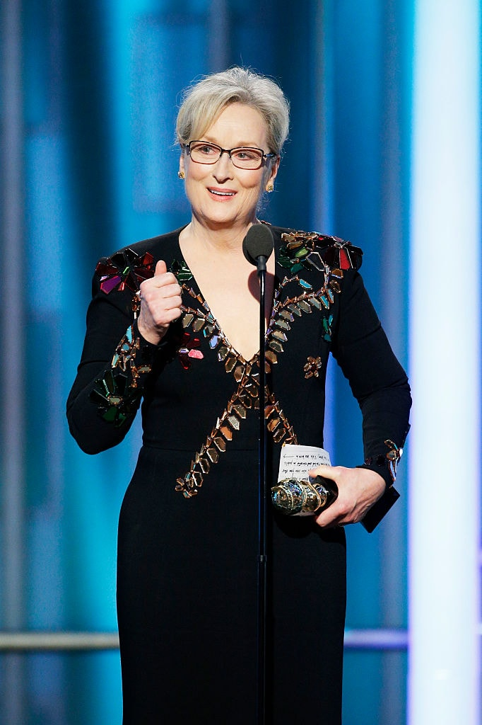 Merryl Streep giving her opinion about Trump at the Golden Globes