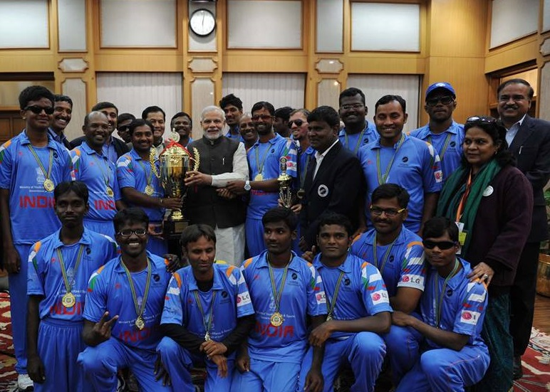 India's Blind Cricket Team With Prime Minister Narendra Modi