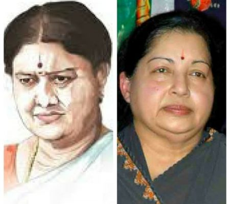 left: painting of sasikala right: picture of jayalalithaa