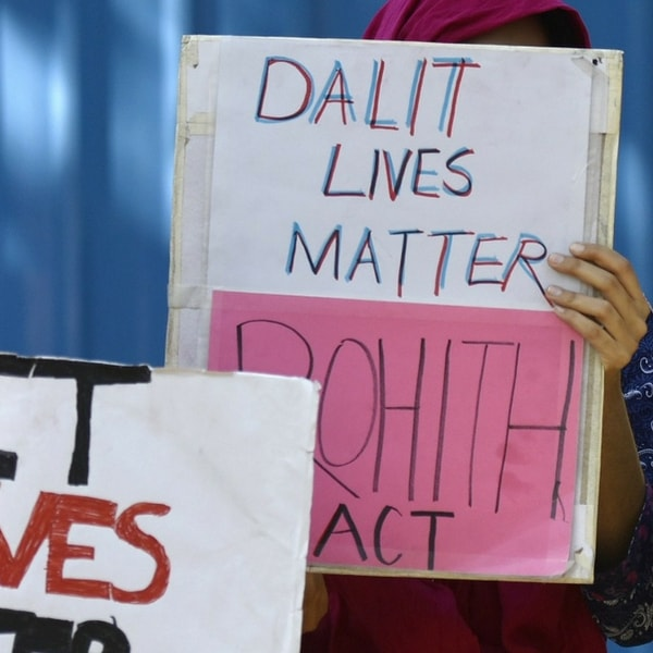 Left-affiliated students union AISA, D and BAPSA from JNU stage a protest demanding justice for the Dalit scholar Rohith Vemula outside Shastri Bhavan on March 23, 2016 in New Delhi, India. The activists demanded that the sedition charges against JNU students be dropped and also sought the scrapping of the sedition laws, enactment of a Rohith Act to end caste discrimination in educational institutions and resignation of HRD Minister Smriti Irani.