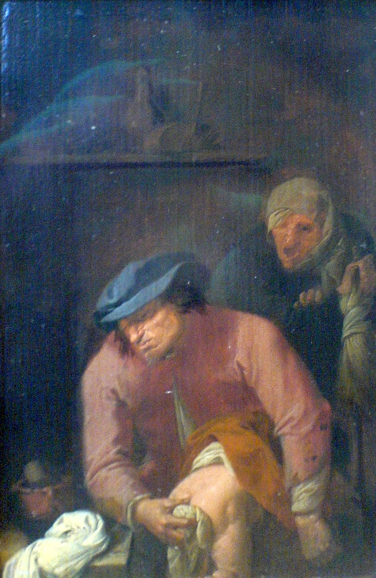 a painting of a man doing his share of work in taking care of the baby.