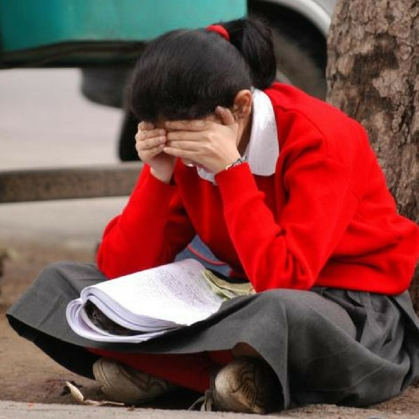 A girl studying under a tree for exams.