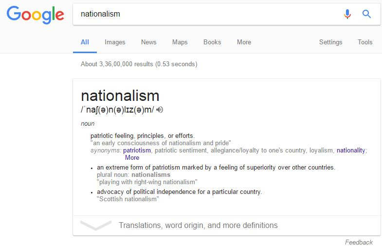 Dictionary definition of Nationalism.