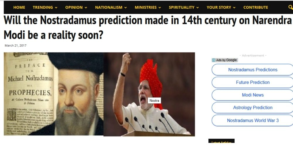 "Screenshot of the opinion article published by Postcard News. Title Says- ""Will the Nostradamus prediction made in the 14th century on Narendra Modi be a reality soon?"""