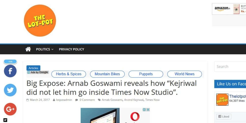 "A screenshot of the web-report by TheLotPot. Title reads- Big Expose: Arnab Goswami reveals how ""Kejriwal did not let him go inside Times Now Studio""."