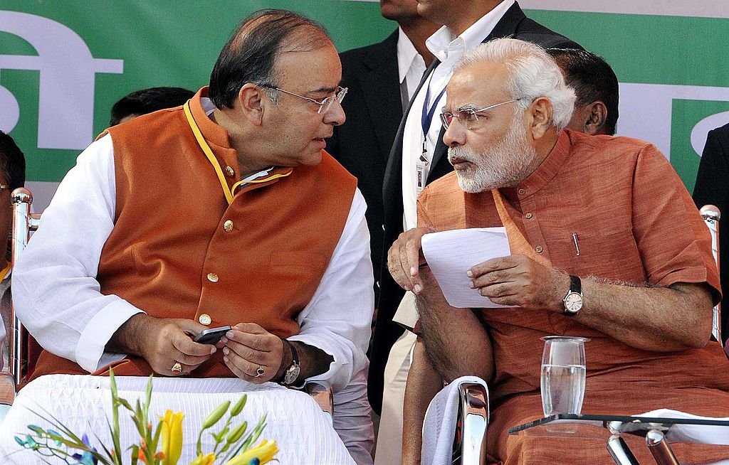 Narendra Modi and Arun Jaitley at an election rally in Delhi