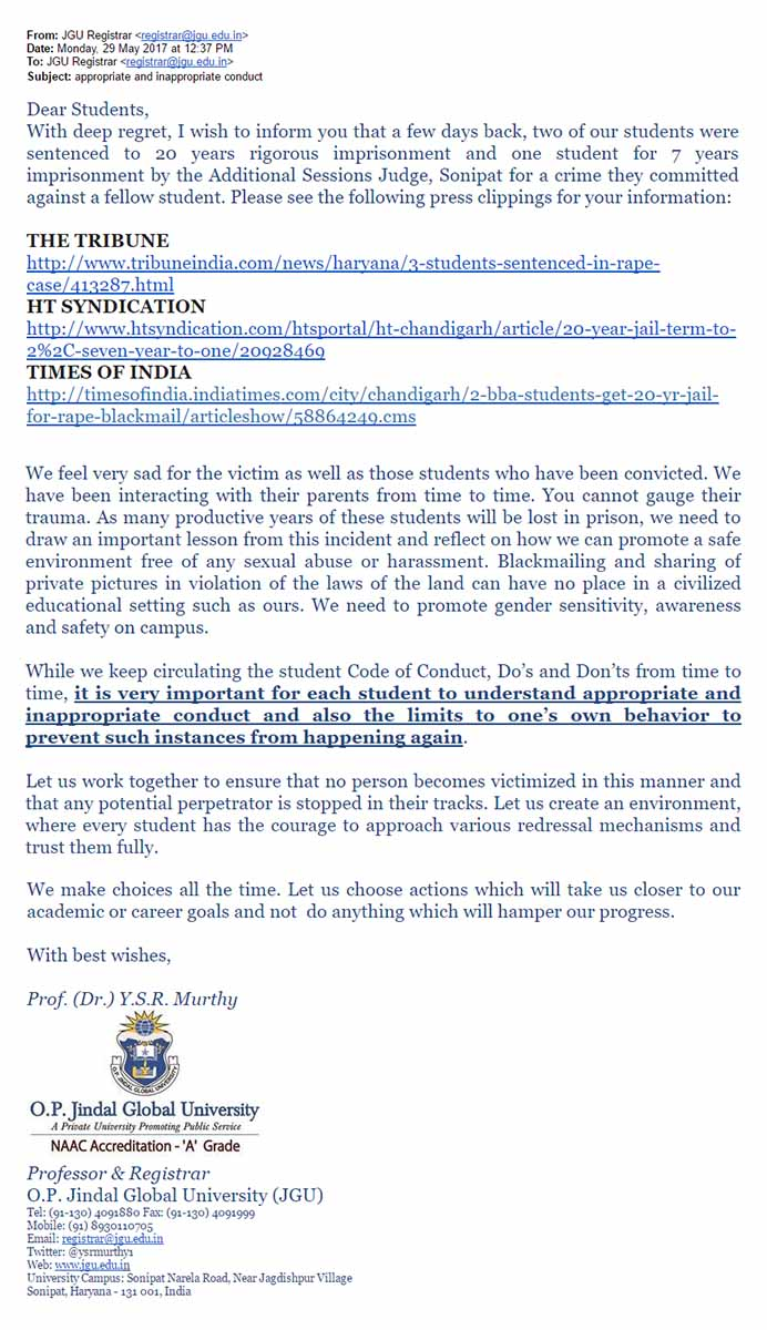 An image of the email sent by the JGU administration to the students.