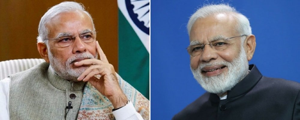 Narendra Modi in two panels