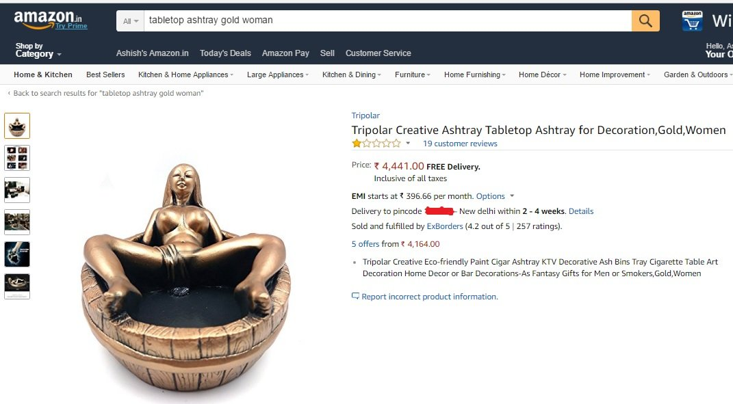 Women's Vagina Used As Ash Tray Being Sold On Amazon