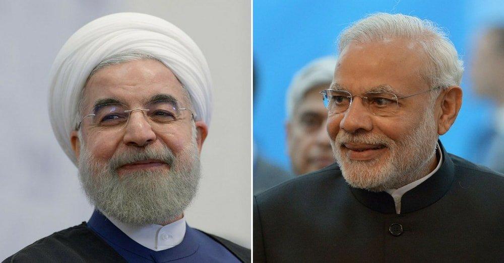Iran President Hassan Rouhani and Indian PM Narendra Modi during BRICS/SCO Summit