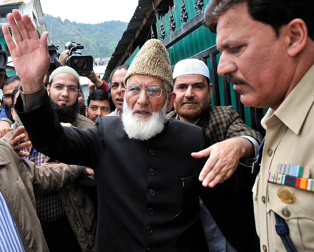 Syed Ali Shah Geelani arrives at Regional passport office to fill passport details for travel documents on June 5, 2015 in Srinagar, India