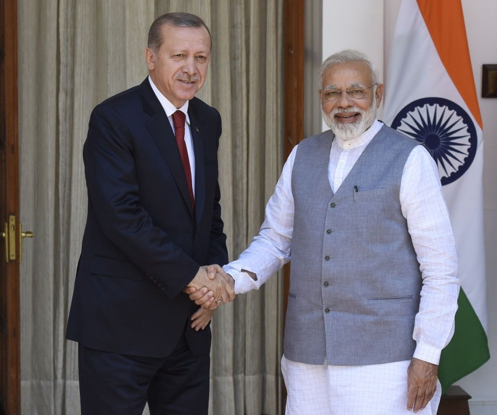 Modi and Erdogan at the Hyderabad House, May 1, 2017