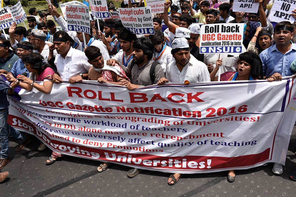 Protest against UGC notification by DUTA and other Delhi University student organisations