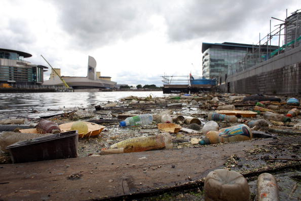 Rubbish Pollutes Manchester Ship Canal.