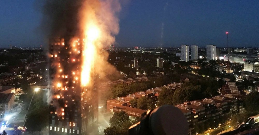Huge fire in a multistory building Grenfell Tower in west London
