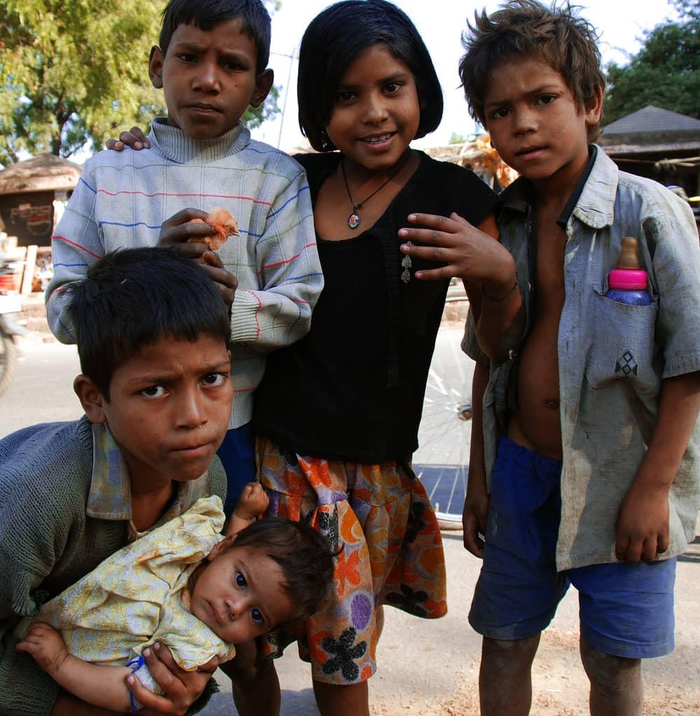 Street children in Agra, India