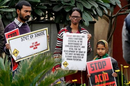 Acid Attack Survivor, activist Laxmi Agarwal protesting to end acid attacks