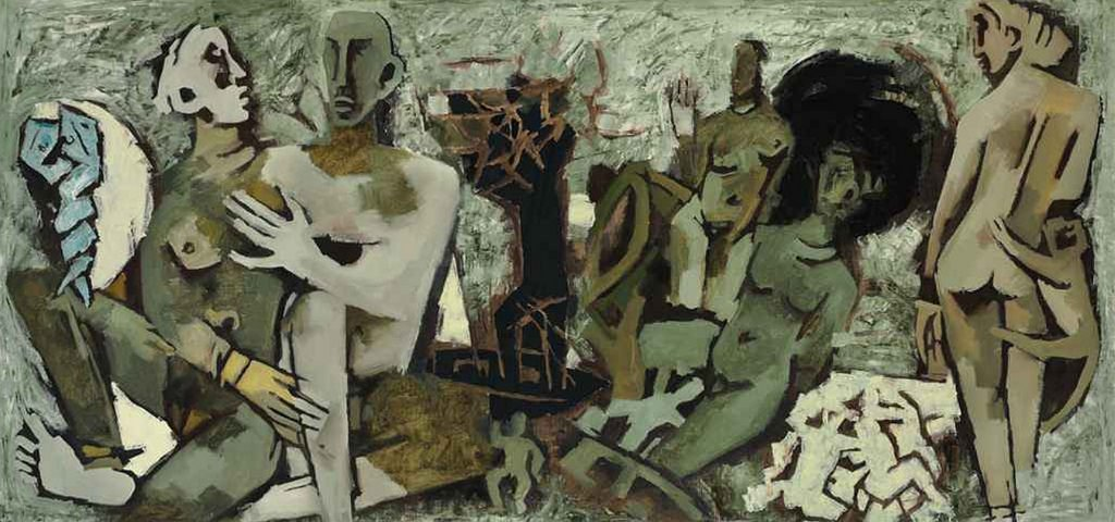 Painting of Maqbool Fida Husain - Amplessi (Embrace)