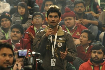A student asking a question. (Photo by Saumya Khandelwal/Hindustan Times via Getty Images)