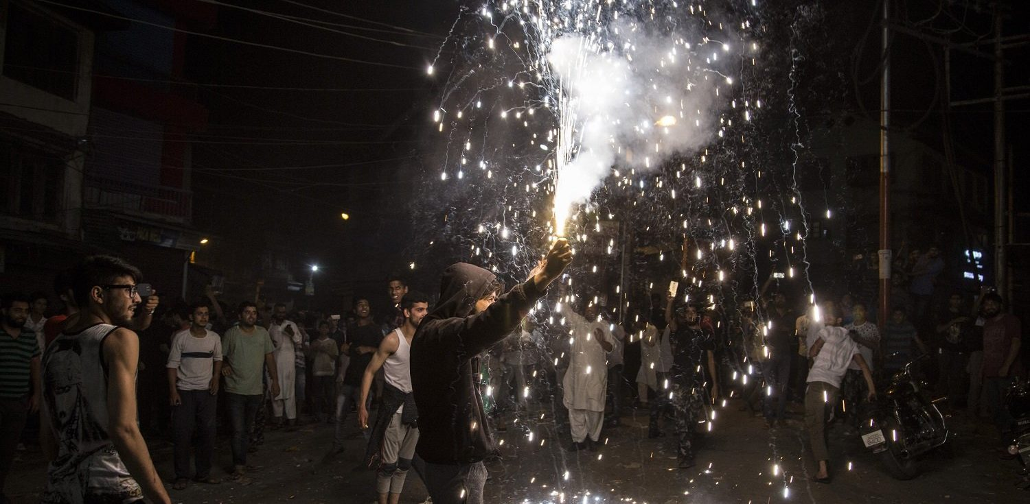 Celebration in Kashmir after ICC Champions Trophy final when Pakistan beat India