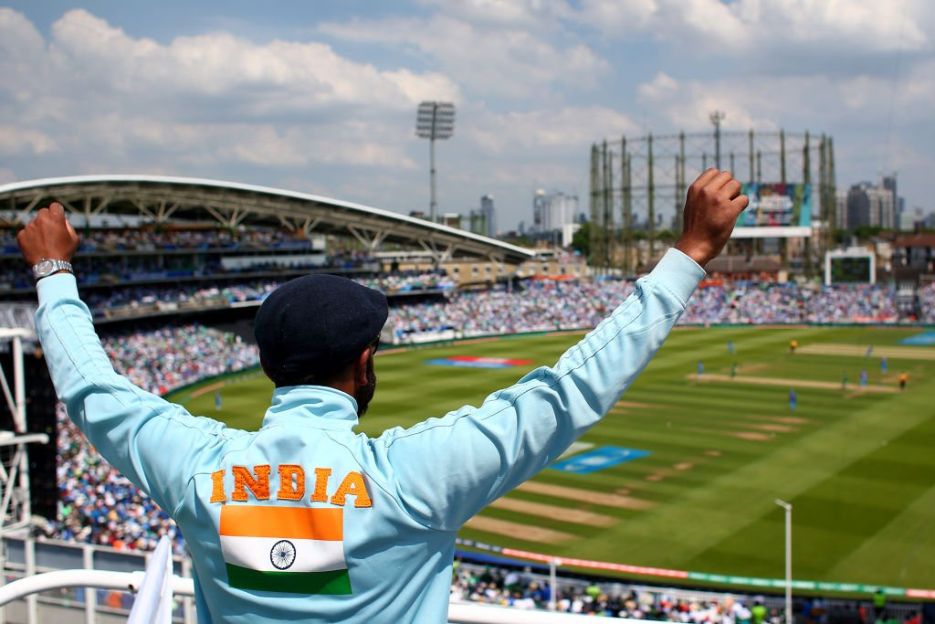 An Indian fan watches the India-Pakistan Champions Trophy final at the Oval, England