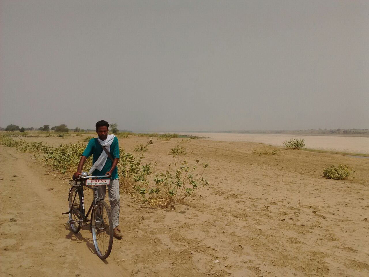 Shah Alam Travelling Through The Ravines Of Chambal On His Bicycle