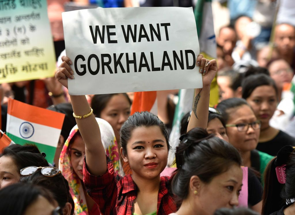 Gorkhaland supporters protest against West Bengal government at Jantar Mantar in New Delhi
