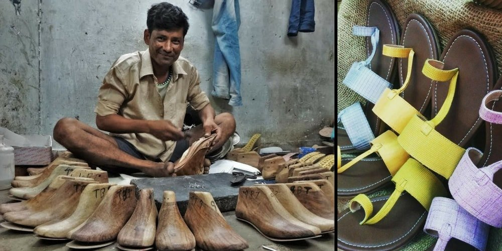 An Indian artisan working to make shoes for Karmantik
