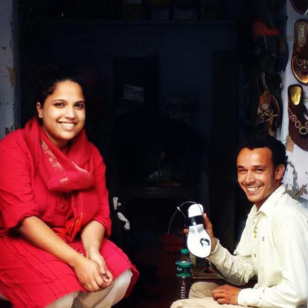 Karmantik founder Apoorva Kamat with a cobbler she works with