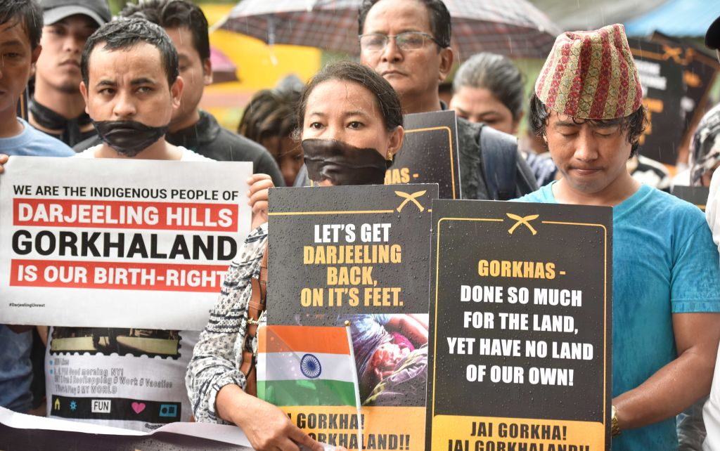 Supporters of Gorkhaland protest against Mamata Banerjee in Mumbai, India