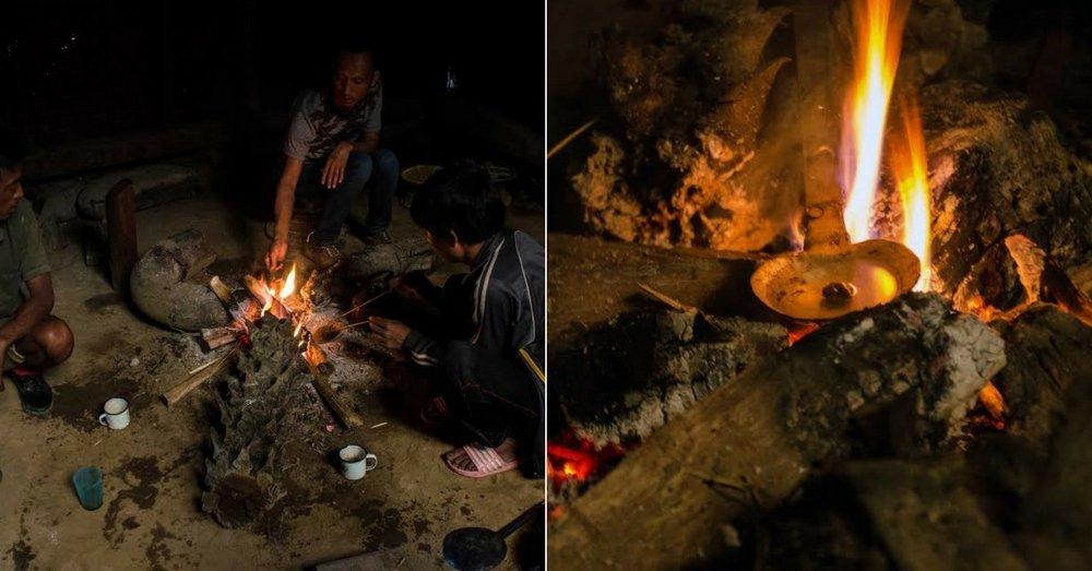 Lungwa villagers burning opium for smoking