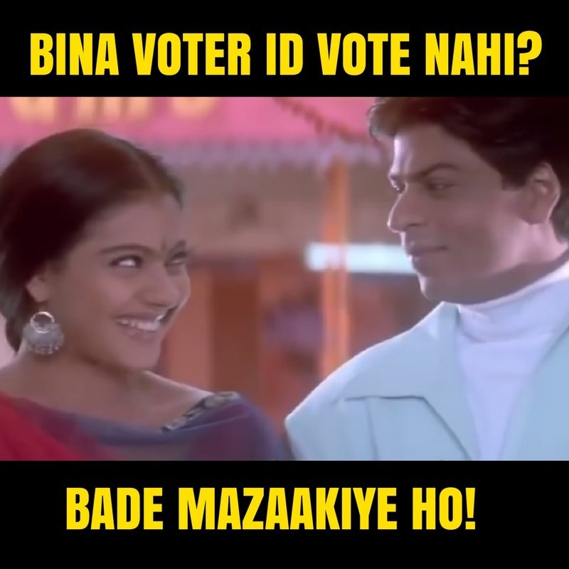 A woman laughing at a man. Text reads: Bina Voter ID vote nahi? Bade Mazakiye ho!