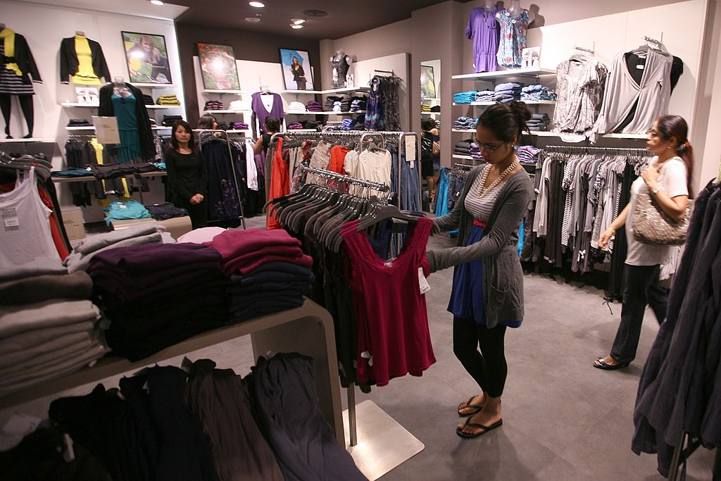 A woman shopping for clothes in Delhi
