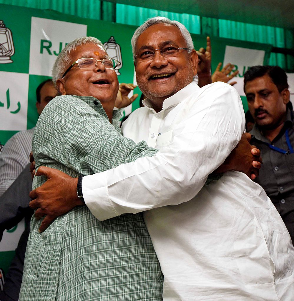 Nitish Kumar and Lalu Yadav celebrate the Grand Alliance's victory in the 2015 Bihar assembly elections