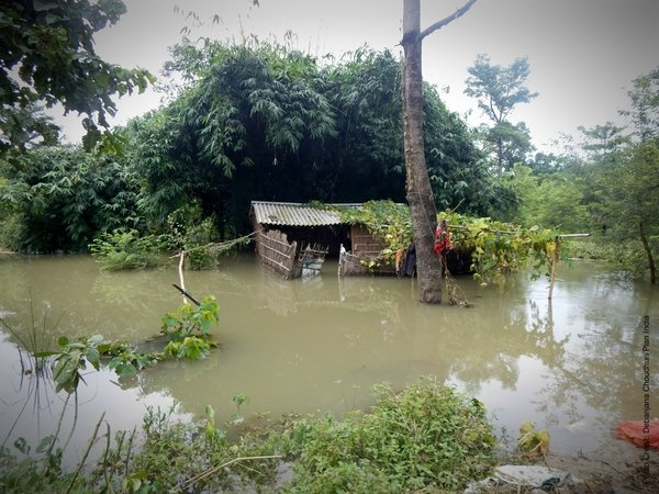 Village huts destroyed