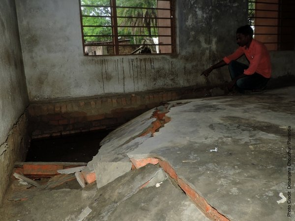 Keerti's school showing the effects of the floods.