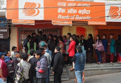 a queue outside bank of bardoda branch in Darjeeling