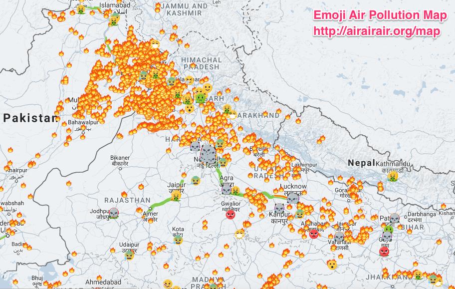 Emoji Air Pollution Map: (Screenshot from Nov 27, 2017)