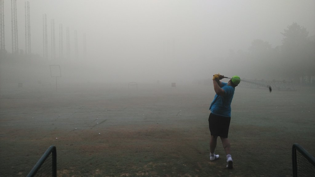 Driving range in Delhi on November 8, 2017. The ball disappears into the smog at the 75 yard line.
