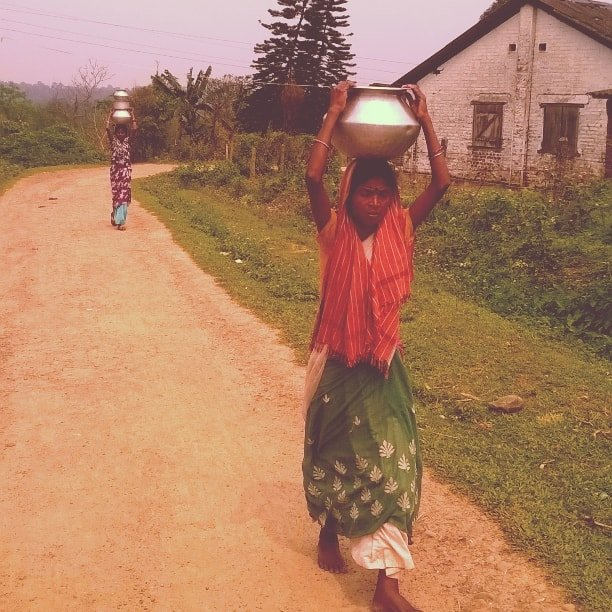 A tea-tribe woman walks 4kms from her house to fetch daily water from a stream