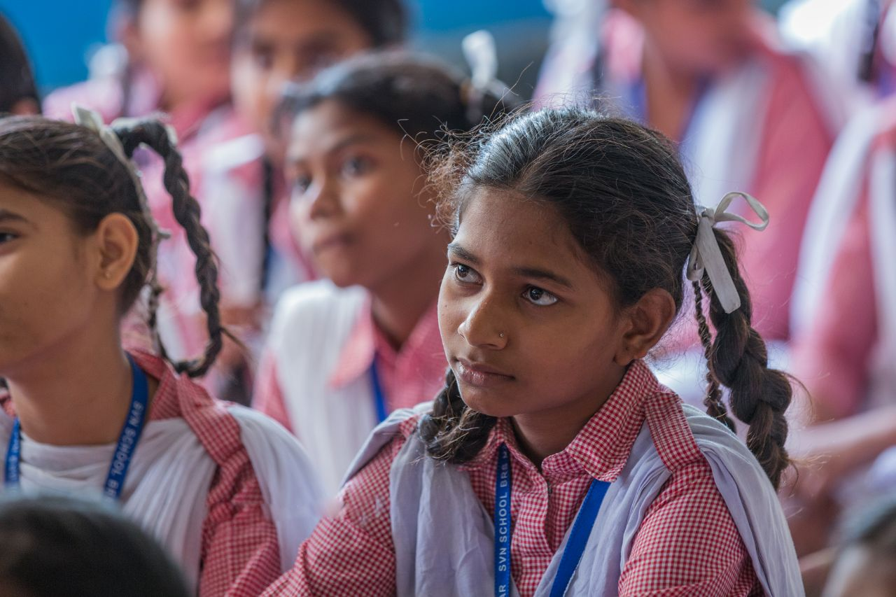girls from an Indian school listening to a class discussion