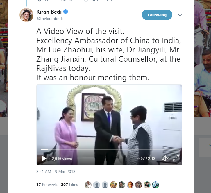 Ambasador #Luozhaihui meeting #Pondicherry #Governor #Kiranbedi