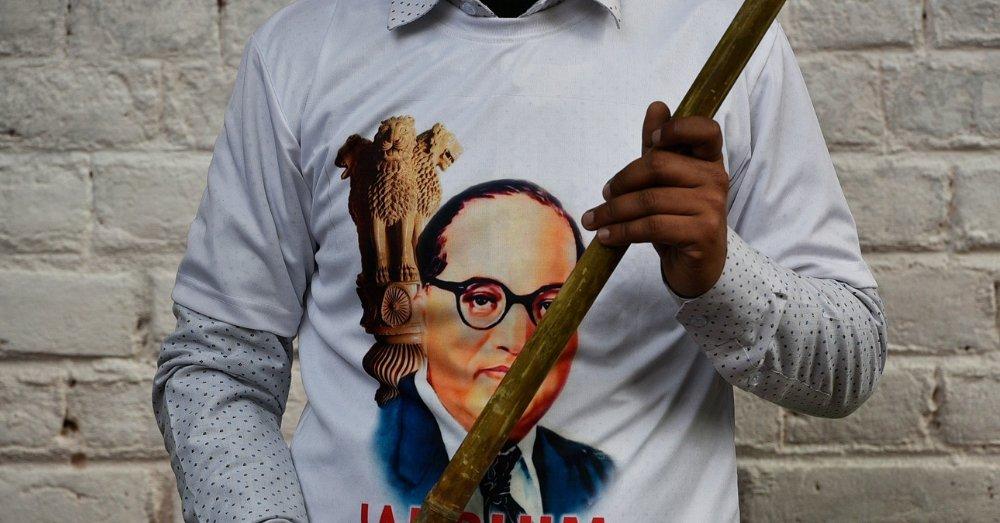 रैली के दौरान अंबेडकर के समर्थक