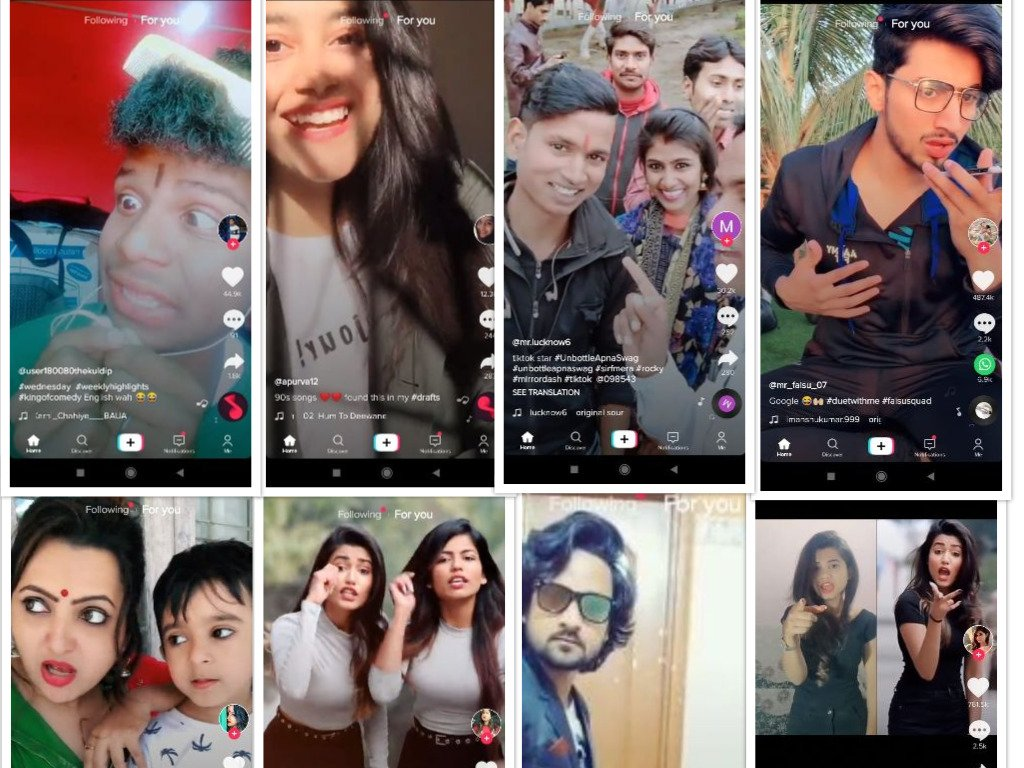 Collage made by Screenshots of TikTok's creators taken by Anurag Paul.