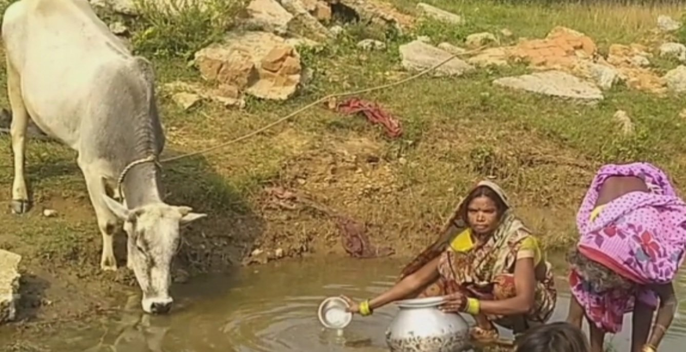 Villagers and animals forced to drink water of 'Drains'
