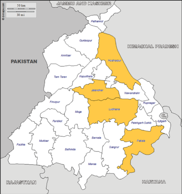 The highlighted districts in Punjab are the most suitable districts to grow potatoes according to a PwC's study.