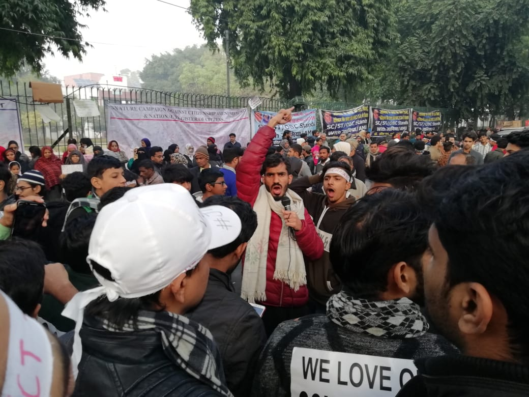 Students protesting against CAA-NRC at Jamia University. They insist that the responsibility to protect the constitution and the nation primarily falls upon the youth of the country. The women are also leading the anti-CAA protests across the country.